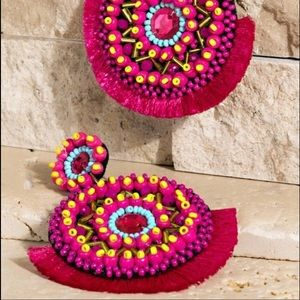 Beaded Drop Earrings Fiesta Pink Circle New